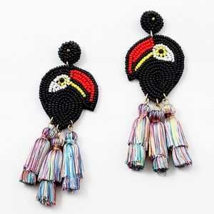 Jewelry - BLACK BEADED PARROT TASSEL EARRINGS